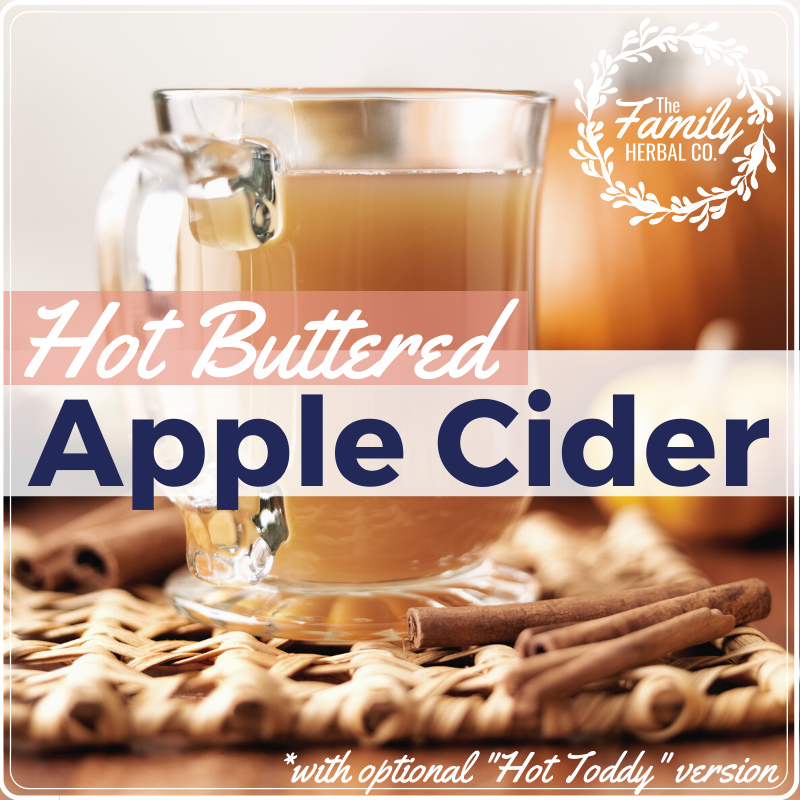 This delicious hot toddy buttered apple cider recipe will warm you to the core ;) Perfect for the holiday to serve at a party or to enjoy all by yourself! #hotapplecider #winterrecipes #hottoddy #naturalremedies ~ For more great recipes & healthy living tips, visit FamilyHerbalCo.com